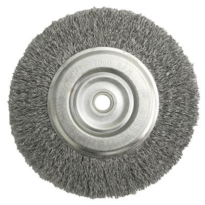 Radnor 64000400 6'' X 5/8'' - 1/2'' Carbon Steel Crimped Wire Wheel Brush For Use On Bench And Die Grinders (1 PER CASE) - 6 Foot Straight Bench