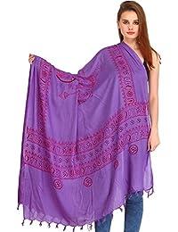 Exotic India Maa Durga Prayer Shawl - Purple