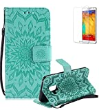 Funyye Strap Magnetic Flip Cover for Samsung Galaxy A8 2018,Premium Green Embossed Sunflower Pattern Folio Wallet Case with Stand Credit Card Holder Slots Case for Samsung Galaxy A8 2018,Shockproof Ultra Thin Slim Fit Full Body PU Leather Case for Samsung Galaxy A8 2018 + 1 x Free Screen Protector