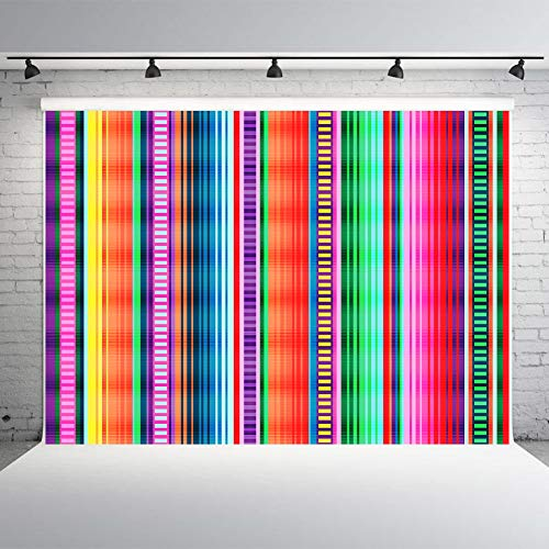 Fiesta Backdrop Mexican Birthday Party Supplies 7x5ft Vinyl Colorful Stripes Photography Background Studio Props Mexican Dress-up Cinco De Mayo Decor Luau Event Decorations ()