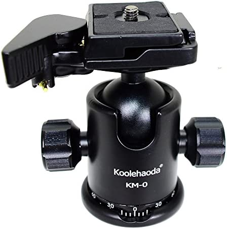 koolehaoda Professional Tripod Ball Head Metal Camera Tripod Head with Quick Release Plate 360/° Panoramic Shooting for Canon Sony Nikon DSLR Cameras and Monopod.