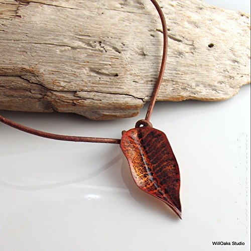 Enameled Choker - Artisan Copper Enameled Leaf Choker in Bright Golden Brown on Brown Leather Cord