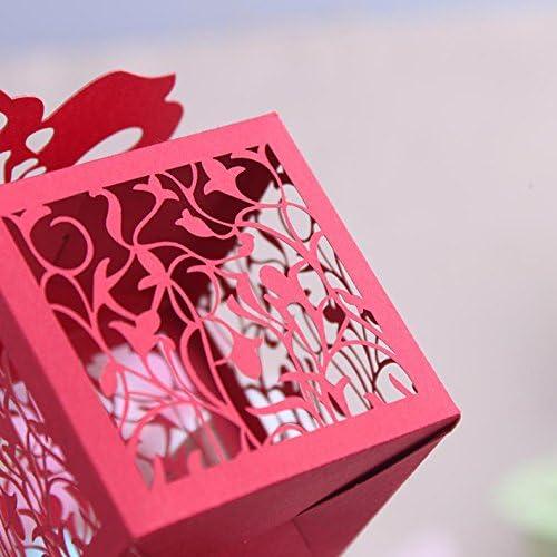 XHDWNBM 20 Pcs Caramelos de azúcar Box-Hi grabado láser cartuchos Butterfly Jardineras matrimonio Regalo Navidad , Caja de regalo roja mediana 10: Amazon.es: Hogar