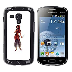 Shell-Star Arte & diseño plástico duro Fundas Cover Cubre Hard Case Cover para Samsung Galaxy S Duos / S7562 ( Indian Woman Dress Knife Warrior Princess )
