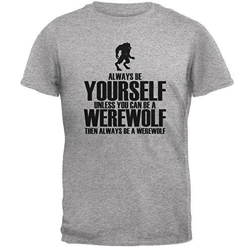 Halloween Always Be Yourself Werewolf Heather Grey Adult T-Shirt - 2X-Large (Werewolf Outfits Halloween)