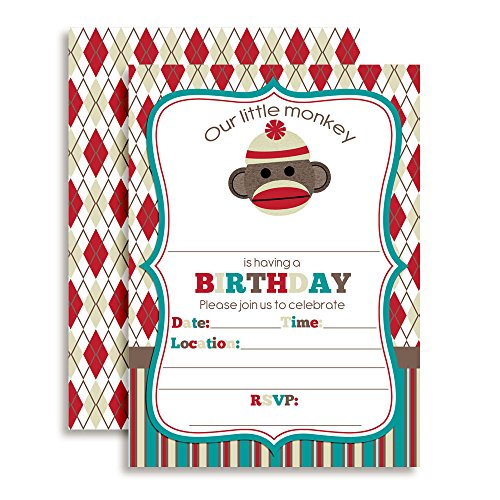 (Sock Monkey Birthday Party Invitations, 20 5
