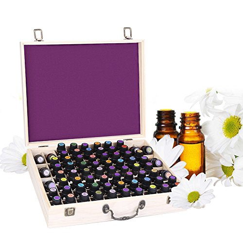 Essential Oil Wooden Box Storage Holds 72 5-10ml Bottles and Roller Balls, Large Essential Oil Case Organizer, Best for Keeping Your Oils Safe