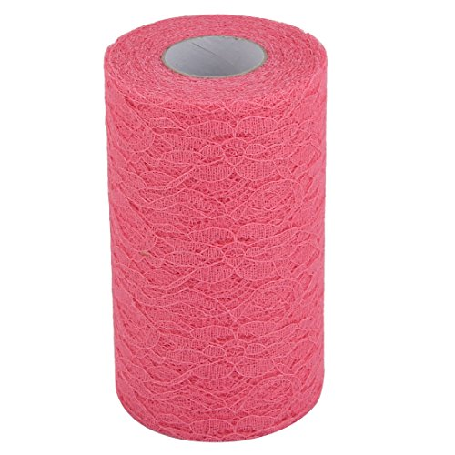 uxcell Lace Wedding Party Banquet Hall DIY Decor Tulle Spool Roll 6 Inch x 25 Yards Dark Pink