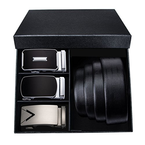 Mens Fashion Belt Set with Handmade Leather Strap Automatic Buckle Alloy,Gifts for Men
