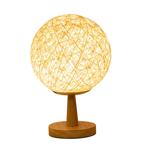 Baoduohui Designer Antique Oak Effect Wooden Base Table lamp, Modern Living Room Table lamp, Study Room Desk lamp, Home/Office Decoration Table lamp, Yellow.