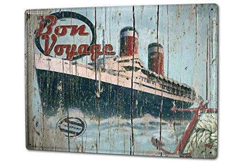 Tin Sign XXL Maritime Bon Voyage passenger ship - Bon Anchor Voyage