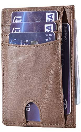 Easyoulife RFID Slim Card Wallet Leather Small Front Pocket Wallet for Men Women (A Vintage ()
