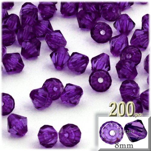 The Crafts Outlet, 200-pc Acrylic Bicone Beads, Faceted, 8mm, (Acrylic Faceted Bicone Beads)
