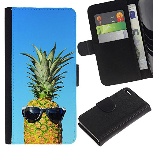 LASTONE PHONE CASE / Luxe Cuir Portefeuille Housse Fente pour Carte Coque Flip Étui de Protection pour Apple Iphone 4 / 4S / cool blue pineapple dude weed 420