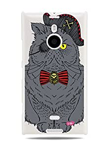 GRÜV Premium Case - 'Pirate Kitty Cat' Design - Best Quality Designer Print on White Hard Cover - for Nokia Lumia 1520