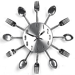 Modekini Silver Fork Spoon Kitchen Utensil Wall Clock Home Decor
