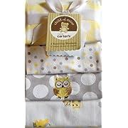Carter's Child of Mine 4 Baby Receiving Blanket Set Owl Dots Girl/Boy Blankets