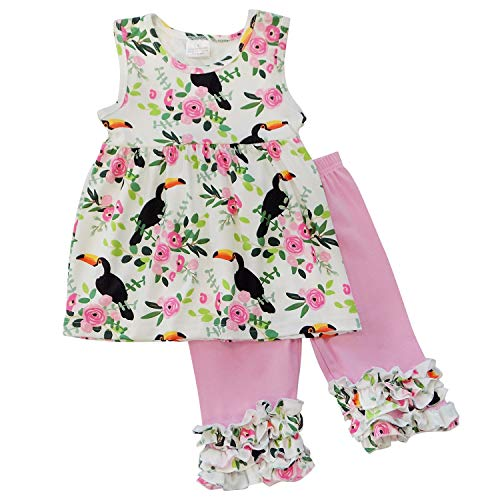 So Sydney Girls Toddler 2-4 Pc Novelty Spring Summer Top Capri Set Accessories (5 (L), Tropical Toucan Ruffle)