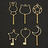 Jeteven Jewelry Frame Charm 6pcs Metal DIY Jewelry Pendant Key Chain Bracelet Necklace Making Finding Kit with Hanging Hole Gold