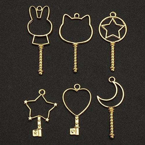 Fill Bezel (Jeteven Jewelry Frame Charm 6pcs Metal DIY Jewelry Pendant Key Chain Bracelet Necklace Making Finding Kit with Hanging Hole Gold)