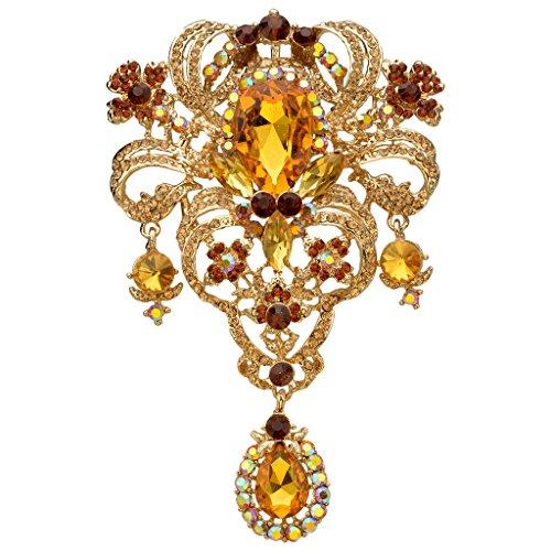 - EVER FAITH Austrian Crystal Flower Bouquet Tear Drop Pendant Brooch Topaz-Color Gold-Tone