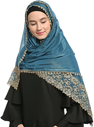 Ababalaya Lace Decorated Wedding Hijab Islamic Hijab (Peacock Blue)