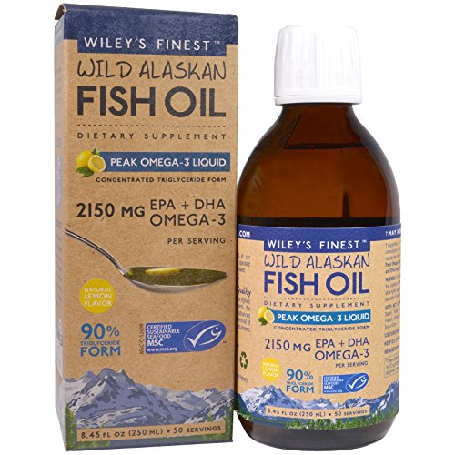 Finest Natural Fish Oil - Wiley s Finest Wild Alaskan Fish Oil Peak Omega-3 Liquid Natural Lemon Flavor 2150 mg 8 45 fl oz 250 ml