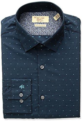Original Penguin Men's Slim Fit Performance Dot Dobby Dress Shirt, Blue, 15.5