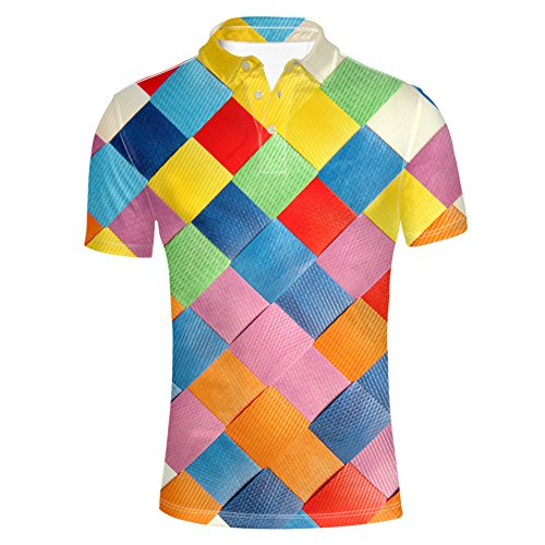 (HUGS IDEA Classic Men's Checked Polos Shirt Short Sleeves Comfort Sport T-Shirts Tee Tops)