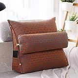 LUOTIANLANG Office sofa cushion pillow waist pillow for pregnant women Home Furnishing ornaments triangle comfortable cushion,Plaid orange,50x200x20cm