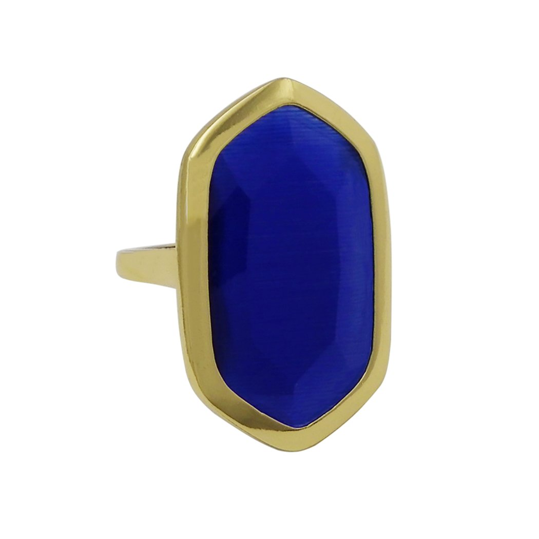 Rosemarie Collections Women's Statement Glass Crystal Adjustable Fashion Ring (Gold Tone Blue)