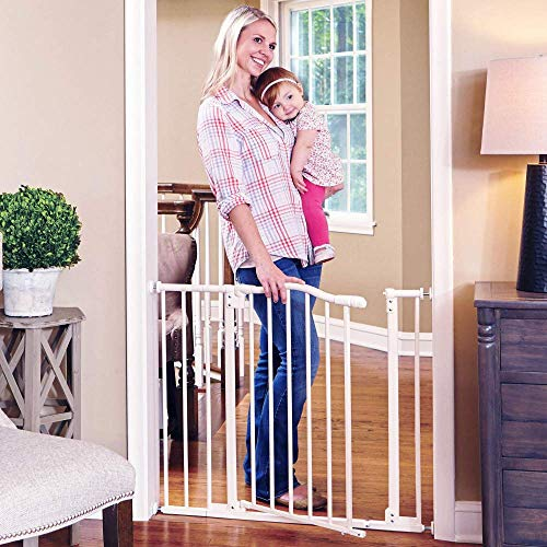Toddleroo by North States 38.25 wide Arched Auto Close Baby Gate with Easy Step Extra low threshold reduces trip hazard. Pressure or Hardware Mount. Fits 28.75 to 38.25 wide 30 tall, Soft White