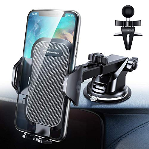 DesertWest Windshield Car Phone Holder Mount, Dashboard/Windshield/Air Vent Holder Compatible with iPhone XR Xs Max Xs X 8 7 6+, Samsung Galaxy S10 S10+ S10e S9 S8 S7, LG Google Huawei