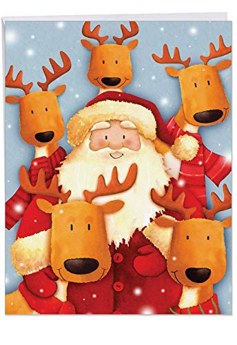 (Festive Santa Selfies Merry Christmas Card with Envelope (Big 8.5 x 11 Inch) - Graphic Santa and His North Pole Reindeer Friends in a Cell Phone Photo - Holiday Notecard Stationery J6738IXSG)