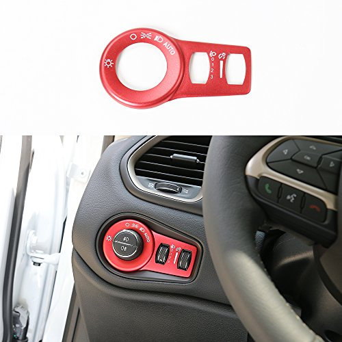 Aluminium Alloy Headlight Switch Button Cover For Jeep Renegade 2015 2016 2017 2018 (red)