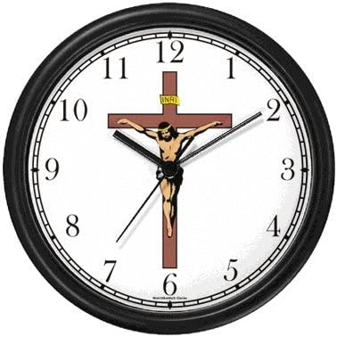WatchBuddy Jesus Christ on Cross or Crucifix Christian Theme Wall Clock Timepieces Hunter Green Frame