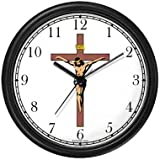 Jesus Christ on Cross or Crucifix Christian Theme Wall Clock by WatchBuddy Timepieces (Hunter Green Frame)