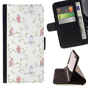Momo Phone Case / Flip Funda de Cuero Case Cover - Viñeta Birds Wallpaper Blanca - HTC One A9