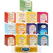 Twinings Herbal Tea Sampler - 40 Individually Wrapped Tea Bags, Pure Peppermint, Camomile, Rooibos Red, Honeybush Mandarin Orange, Plus 9 More Flavors - with By The Cup Honey Stix