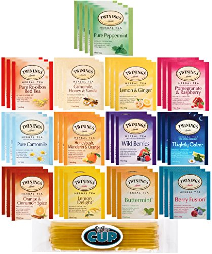 Twinings Herbal Tea Sampler - 40 Individually Wrapped Tea Bags, Pure Peppermint, Camomile, Rooibos Red, Honeybush Mandarin Orange, Plus 9 More Flavors - with By The Cup Honey (40 Assorted Teas)