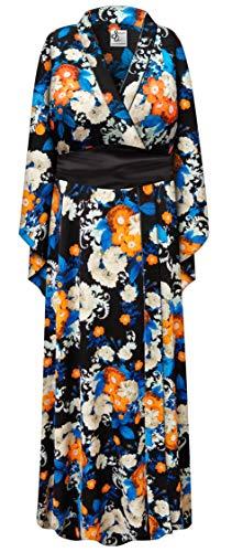 Orange Floral Geisha Robe Plus Size Halloween Costume - Robe & Sash 3x/4x