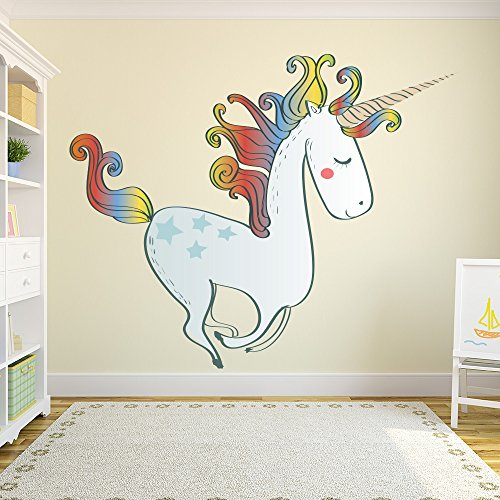 - Prancing Unicorn Fairy & Fantasy color Wall Sticker Kids Art Decals Decor available in 8 Sizes Gigantic Digital
