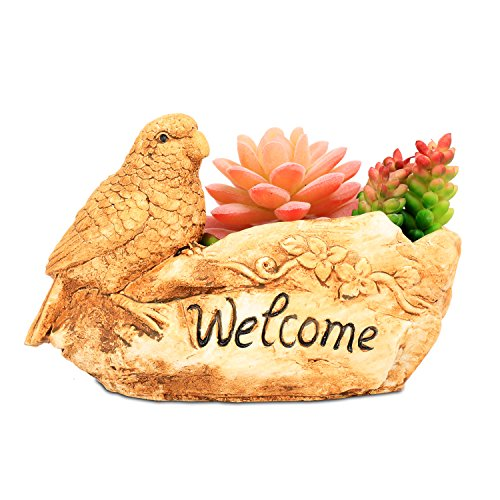 (ROSE CREATE 7.0 Inches Bird Planter, SucculentsCactus Combination Pot Plants Box, Mini Ornaments Container, Decor for Garden/Indoor / Desktop Succulents (Yellow Bird))