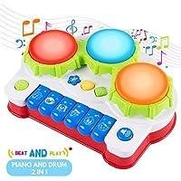 SGILE Juguete Educativo de Aprendizaje Musical Eléctrico, Juguete de Aprendizaje de Preschoool, Juguete Electrónico de Piano de Teclado, Juguete de Tambor de Mano