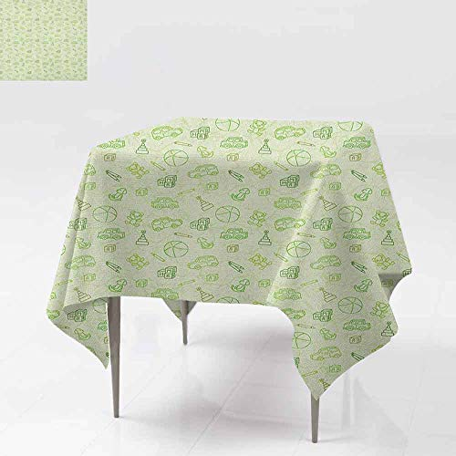 SONGDAYONE Decorative Square Tablecloth Baby Cartoon Doodle Drawing Style Funny Infant Toys Balls Cars Teddy Bears Crayons Pattern Will not Fade Pale Green W70 xL70 ()