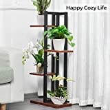 Plant Stand Flower Pot Holder 4 Tiers Metal Wood