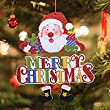 Zoilmxmen Christmas Door Hanging Decor, Santa Claus Carry A Tablet with Merry Christmas