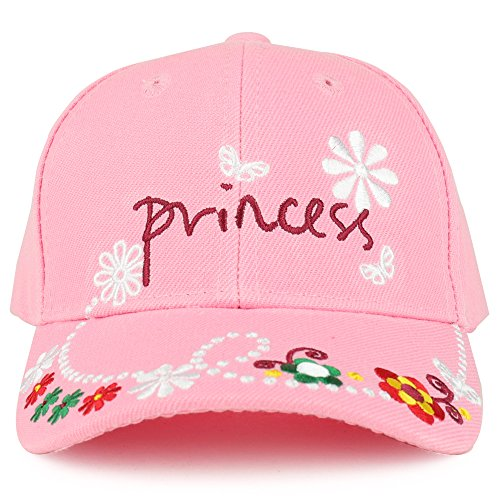 Trendy Apparel Shop Youth Size Girl's Princess Flower Embroidered Structured Baseball Cap - Pink (Embroidered Kids Ball Cap)