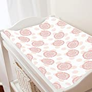 Carousel Designs Light Coral and Peach Dandelion Changing Pad Cover - Organic 100% Cotton Change Pad Cover - Made in the USA