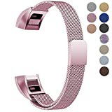 "Oitom For Fitbit Alta HR Replacement Bands and For Fitbit alta Band, (2 Size) Large 6.7""-9.3"" Small 5.1""-6.7"" (8 Color) Silver Black Rose Gold Pink Blue Brown Rainbow(Small 5.1""-6.7"" Sakura Pink)"